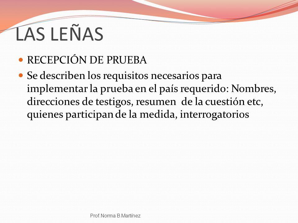 LAS LEÑAS RECEPCIÓN DE PRUEBA Se describen los requisitos necesarios para implementar la prueba en el país requerido: Nombres, direcciones de testigos