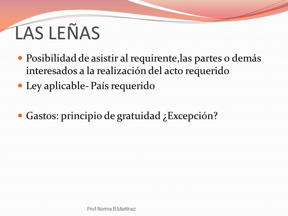 LAS LEÑAS Posibilidad de asistir al requirente,las partes o demás interesados a la realización del acto requerido Ley aplicable- País requerido Gastos
