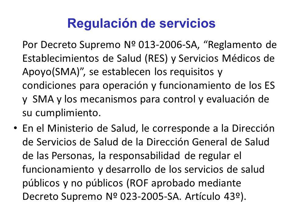 Por Decreto Supremo Nº 013-2006-SA, Reglamento de Establecimientos de Salud (RES) y Servicios Médicos de Apoyo(SMA), se establecen los requisitos y co