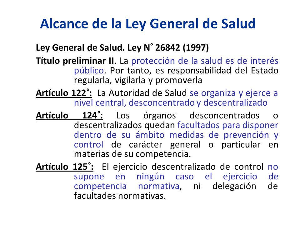 Alcance de la Ley General de Salud Ley General de Salud. Ley N° 26842 (1997) Título preliminar II. La protección de la salud es de interés público. Po