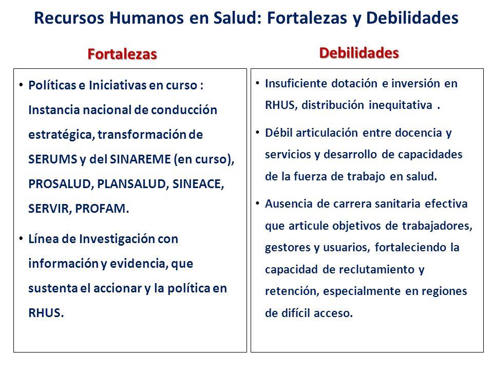 Recursos Humanos en Salud: Fortalezas y DebilidadesFortalezas Políticas e Iniciativas en curso : Instancia nacional de conducción estratégica, transfo