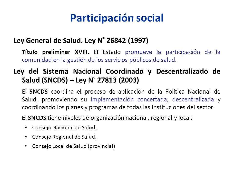 Participación social Ley General de Salud. Ley N° 26842 (1997) Título preliminar XVIII. El Estado promueve la participación de la comunidad en la gest