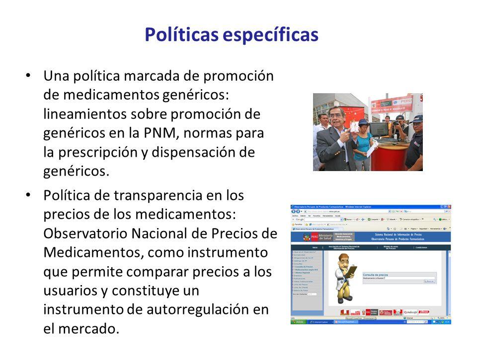 Políticas específicas Una política marcada de promoción de medicamentos genéricos: lineamientos sobre promoción de genéricos en la PNM, normas para la