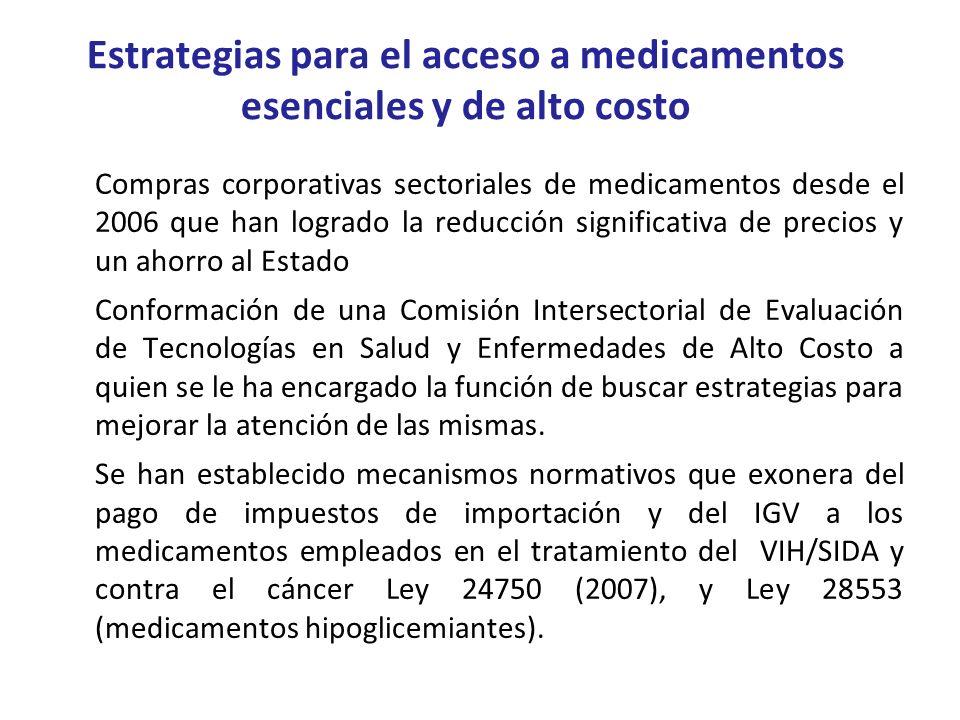Estrategias para el acceso a medicamentos esenciales y de alto costo Compras corporativas sectoriales de medicamentos desde el 2006 que han logrado la