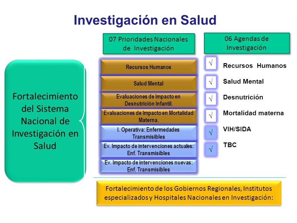 Investigación en Salud Fortalecimiento del Sistema Nacional de Investigación en Salud Recursos Humanos Evaluaciones de Impacto en Desnutrición Infanti