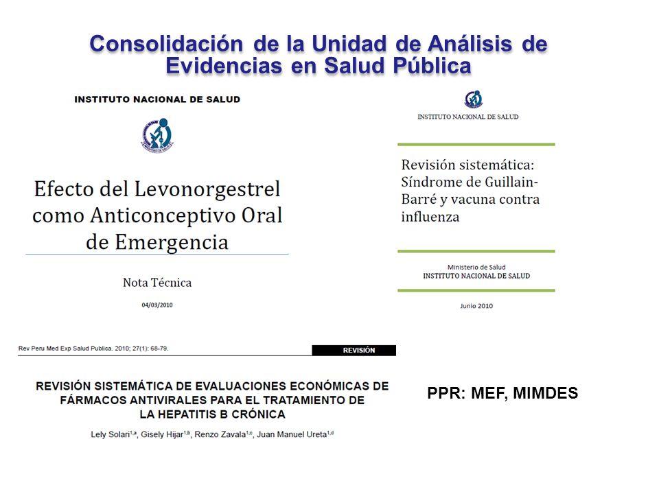 Consolidación de la Unidad de Análisis de Evidencias en Salud Pública Consolidación de la Unidad de Análisis de Evidencias en Salud Pública PPR: MEF,