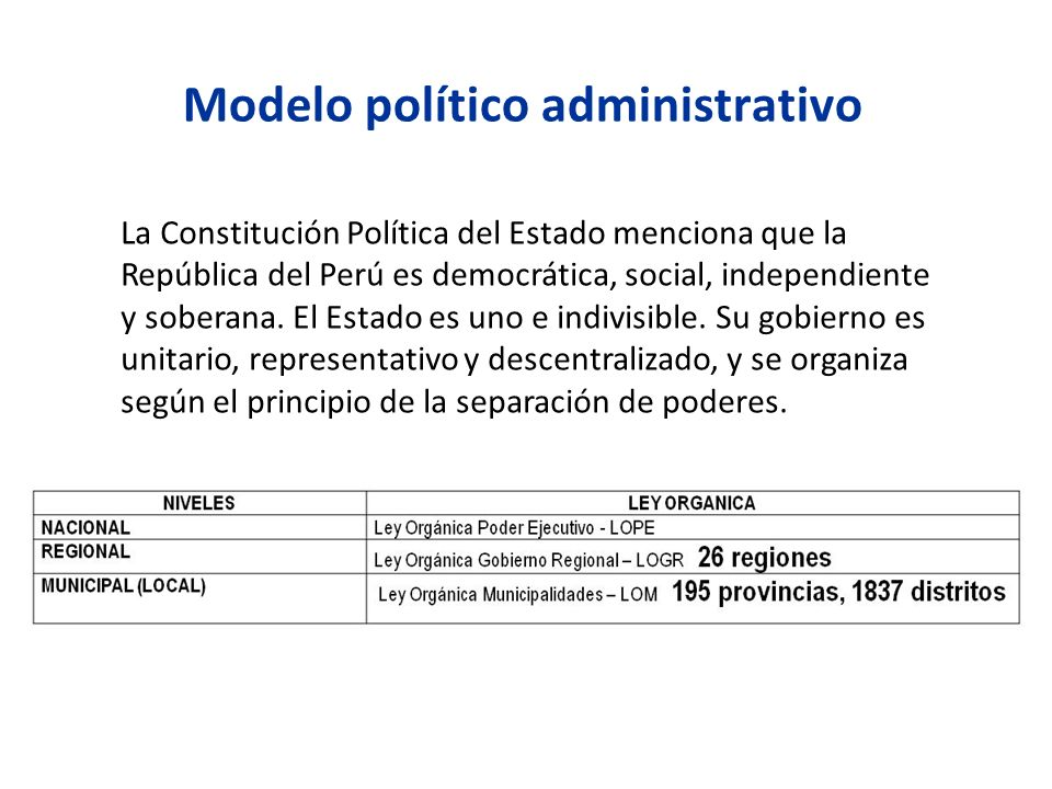 La Constitución Política del Estado menciona que la República del Perú es democrática, social, independiente y soberana. El Estado es uno e indivisibl