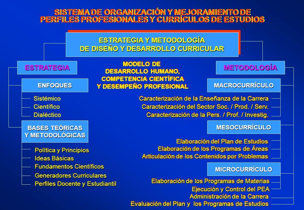 SISTEMA DE ORGANIZACIÓN Y MEJORAMIENTO DE PERFILES PROFESIONALES Y CURRÍCULOS DE ESTUDIOS SISTEMA DE ORGANIZACIÓN Y MEJORAMIENTO DE PERFILES PROFESION