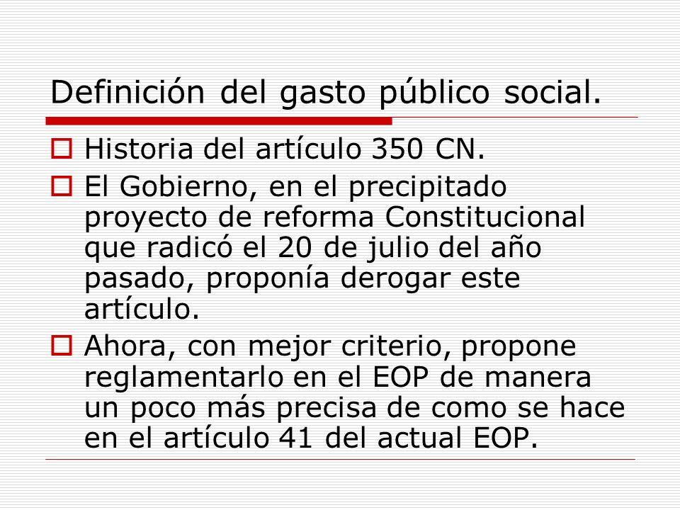 Definición del gasto público social. Historia del artículo 350 CN.