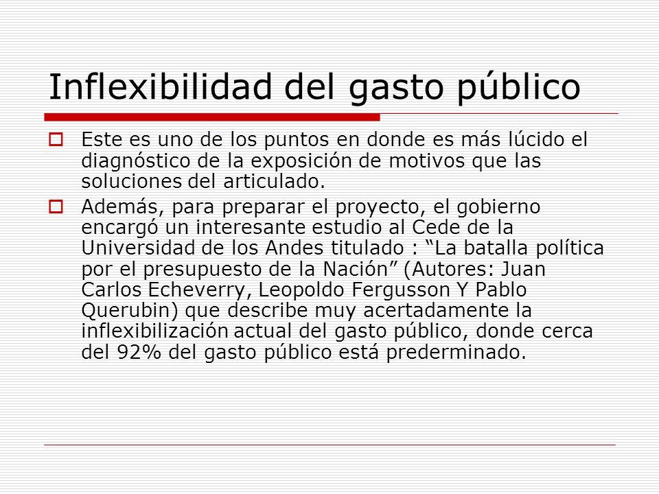 Inflexibilidad del gasto público Este es uno de los puntos en donde es más lúcido el diagnóstico de la exposición de motivos que las soluciones del articulado.
