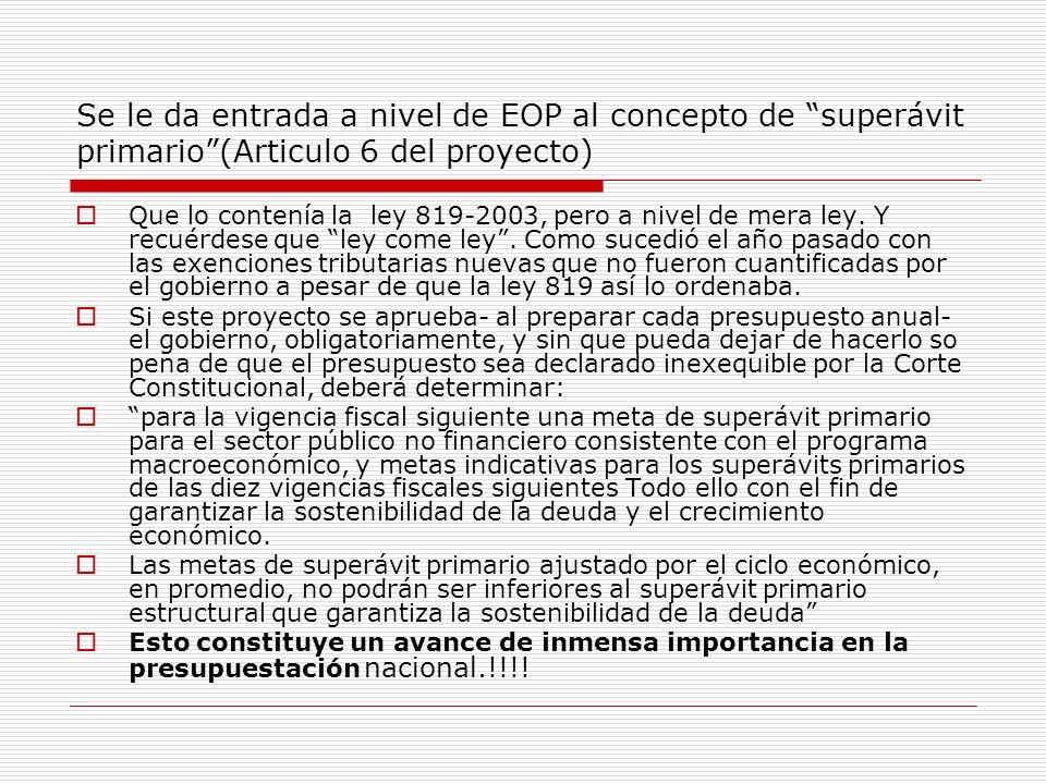 Se le da entrada a nivel de EOP al concepto de superávit primario(Articulo 6 del proyecto) Que lo contenía la ley 819-2003, pero a nivel de mera ley.