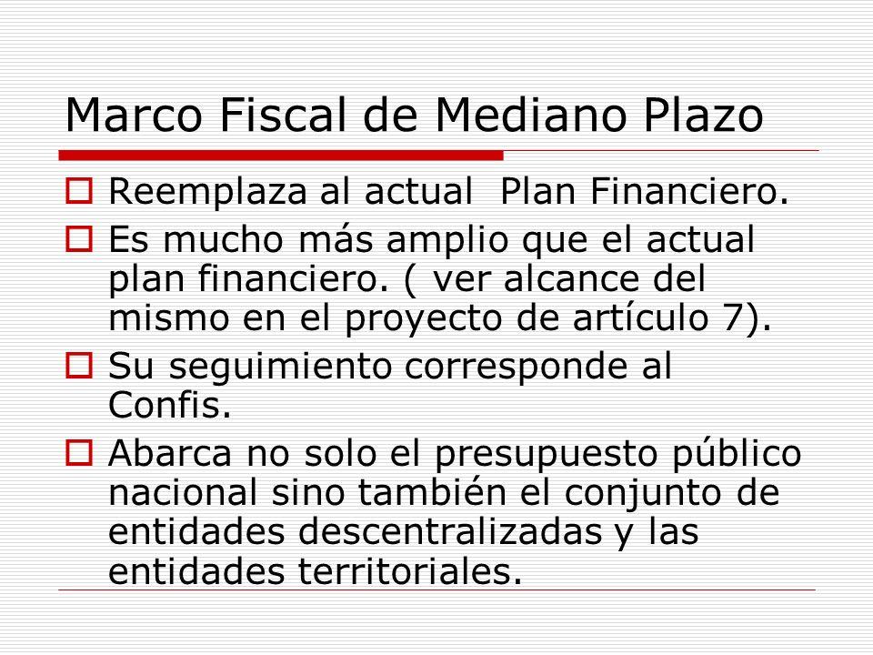 Marco Fiscal de Mediano Plazo Reemplaza al actual Plan Financiero. Es mucho más amplio que el actual plan financiero. ( ver alcance del mismo en el pr