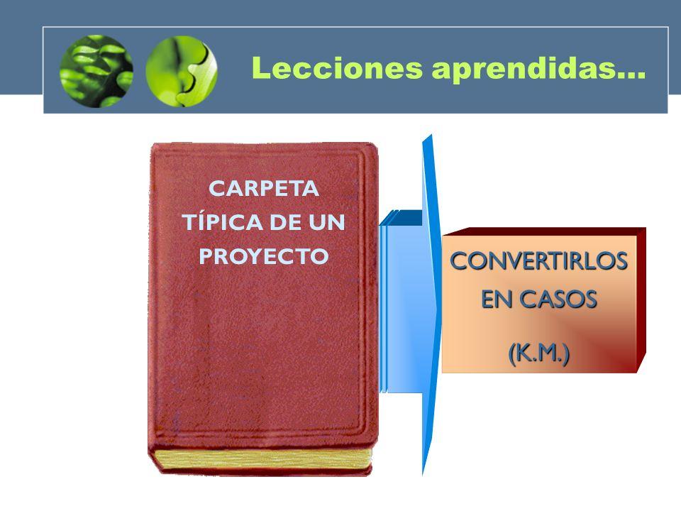 CARPETA TÍPICA DE UN PROYECTO CONVERTIRLOS EN CASOS (K.M.) Lecciones aprendidas…