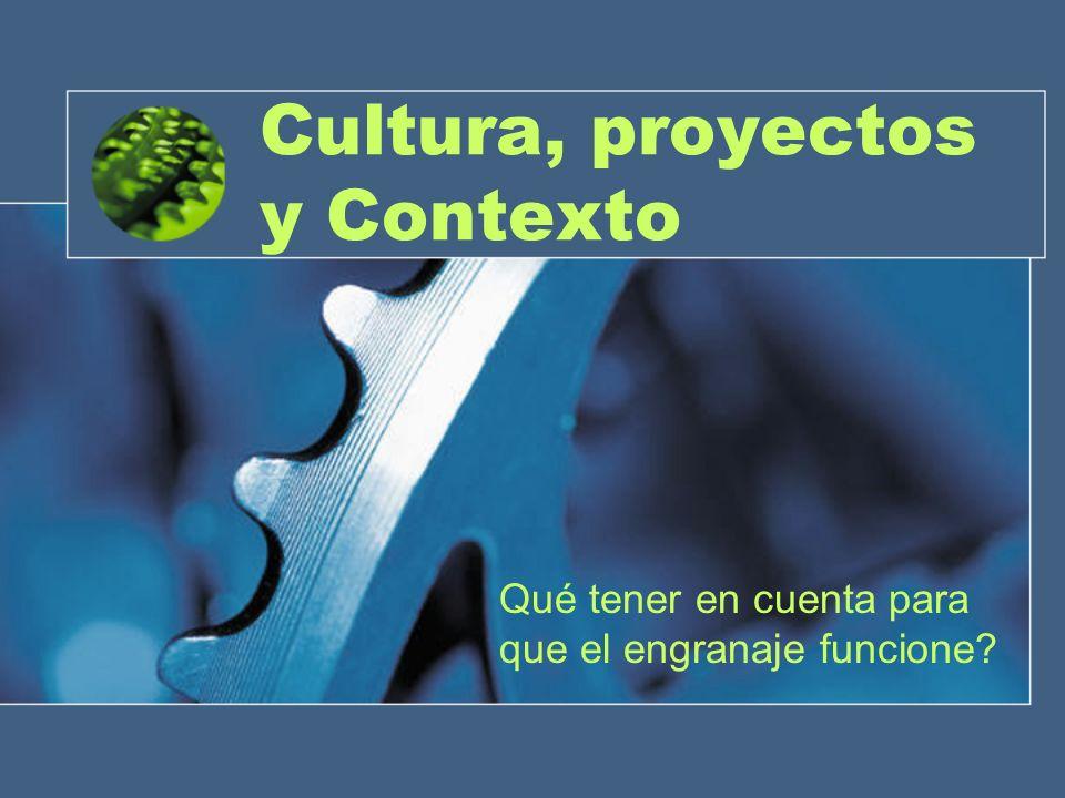 Cultura, proyectos y Contexto Qué tener en cuenta para que el engranaje funcione