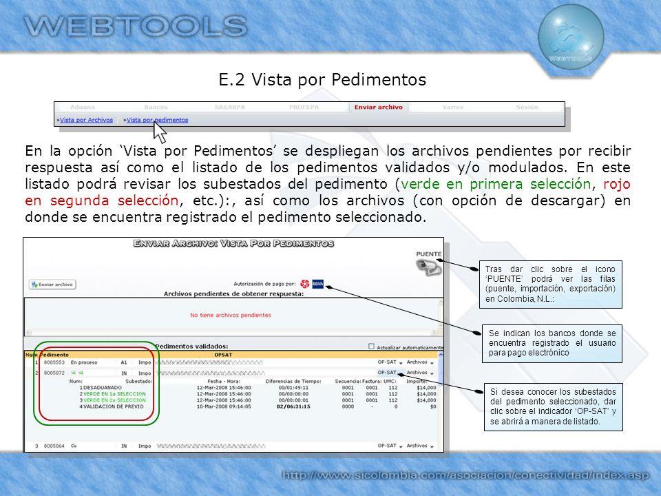E.2 Vista por Pedimentos En la opción Vista por Pedimentos se despliegan los archivos pendientes por recibir respuesta así como el listado de los pedi