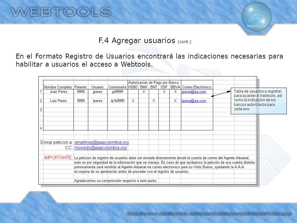 En el Formato Registro de Usuarios encontrará las indicaciones necesarias para habilitar a usuarios el acceso a Webtools. F.4 Agregar usuarios (cont.)