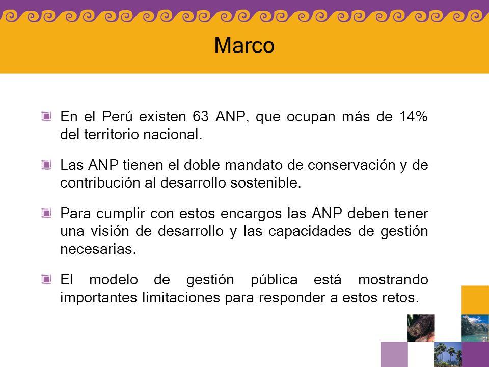En el Perú existen 63 ANP, que ocupan más de 14% del territorio nacional. Las ANP tienen el doble mandato de conservación y de contribución al desarro