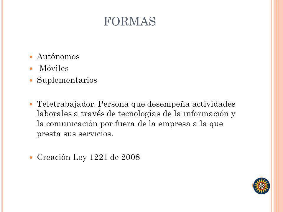 FORMAS Autónomos Móviles Suplementarios Teletrabajador. Persona que desempeña actividades laborales a través de tecnologías de la información y la com