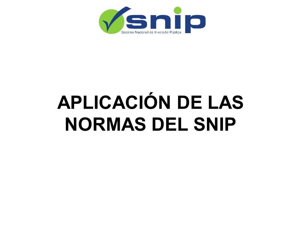 APLICACIÓN DE LAS NORMAS DEL SNIP