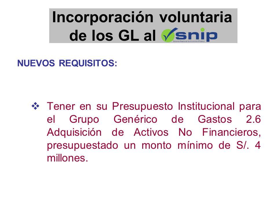 Tener en su Presupuesto Institucional para el Grupo Genérico de Gastos 2.6 Adquisición de Activos No Financieros, presupuestado un monto mínimo de S/.