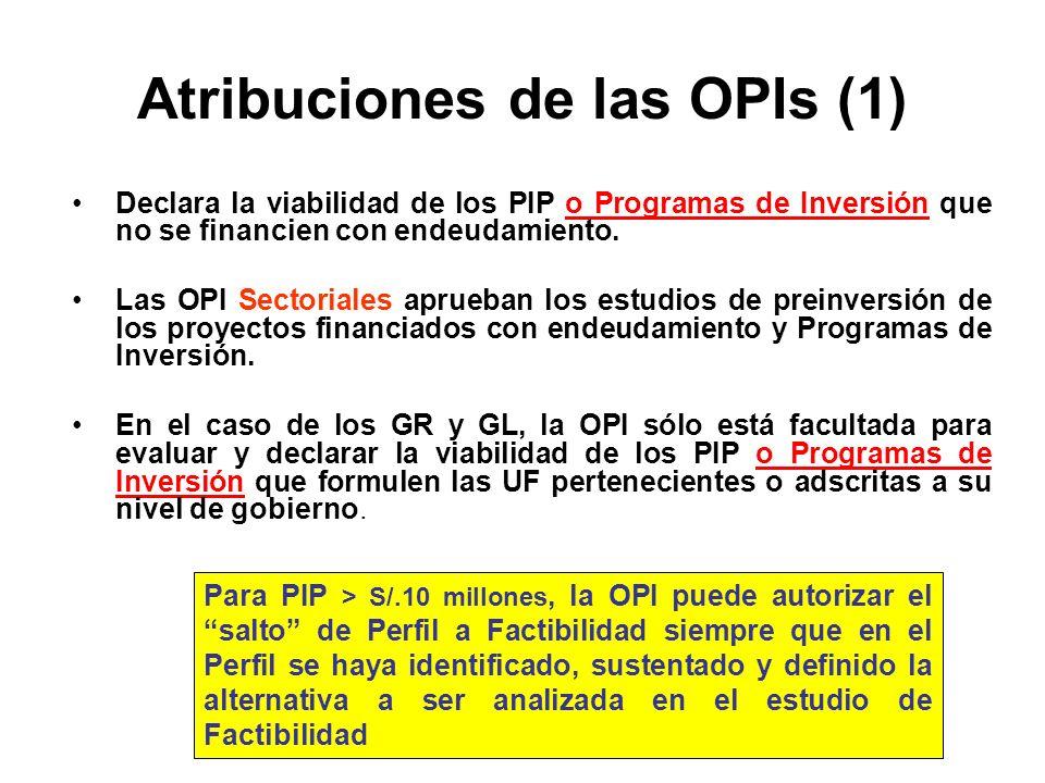 Atribuciones de las OPIs (1) Declara la viabilidad de los PIP o Programas de Inversión que no se financien con endeudamiento.