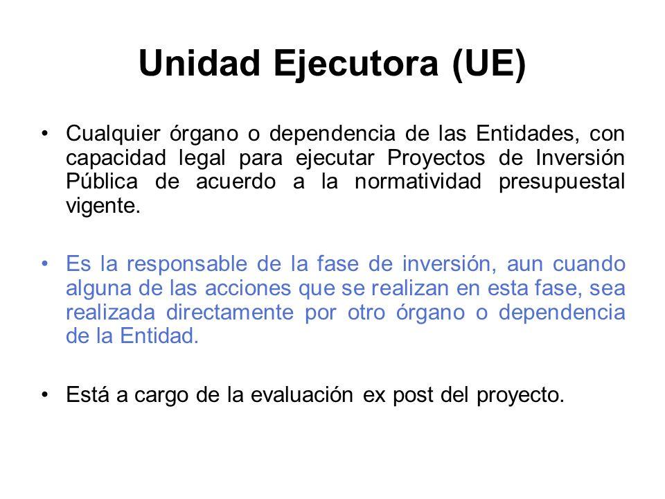 Unidad Ejecutora (UE) Cualquier órgano o dependencia de las Entidades, con capacidad legal para ejecutar Proyectos de Inversión Pública de acuerdo a la normatividad presupuestal vigente.