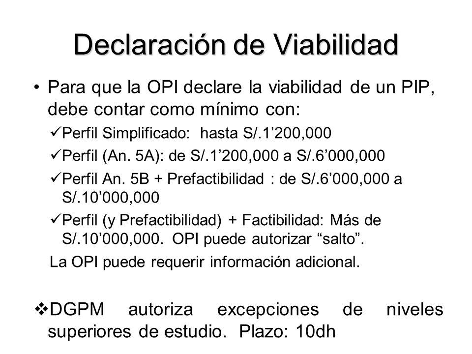 Declaración de Viabilidad Para que la OPI declare la viabilidad de un PIP, debe contar como mínimo con: Perfil Simplificado: hasta S/.1200,000 Perfil (An.