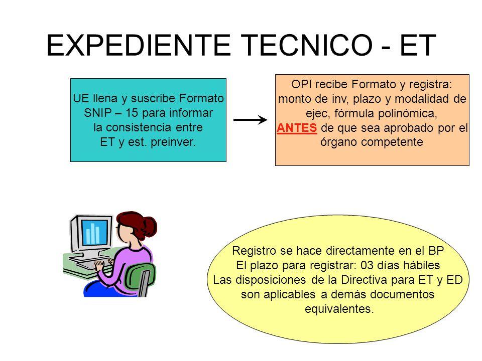 EXPEDIENTE TECNICO - ET UE llena y suscribe Formato SNIP – 15 para informar la consistencia entre ET y est.