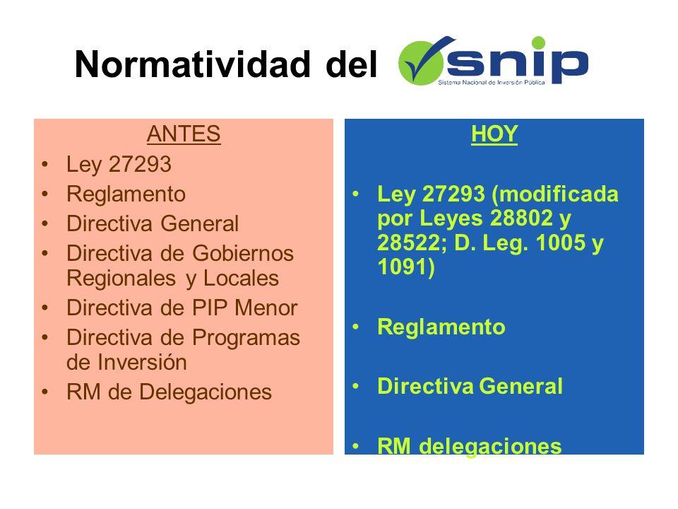 ANTES Ley 27293 Reglamento Directiva General Directiva de Gobiernos Regionales y Locales Directiva de PIP Menor Directiva de Programas de Inversión RM de Delegaciones HOY Ley 27293 (modificada por Leyes 28802 y 28522; D.