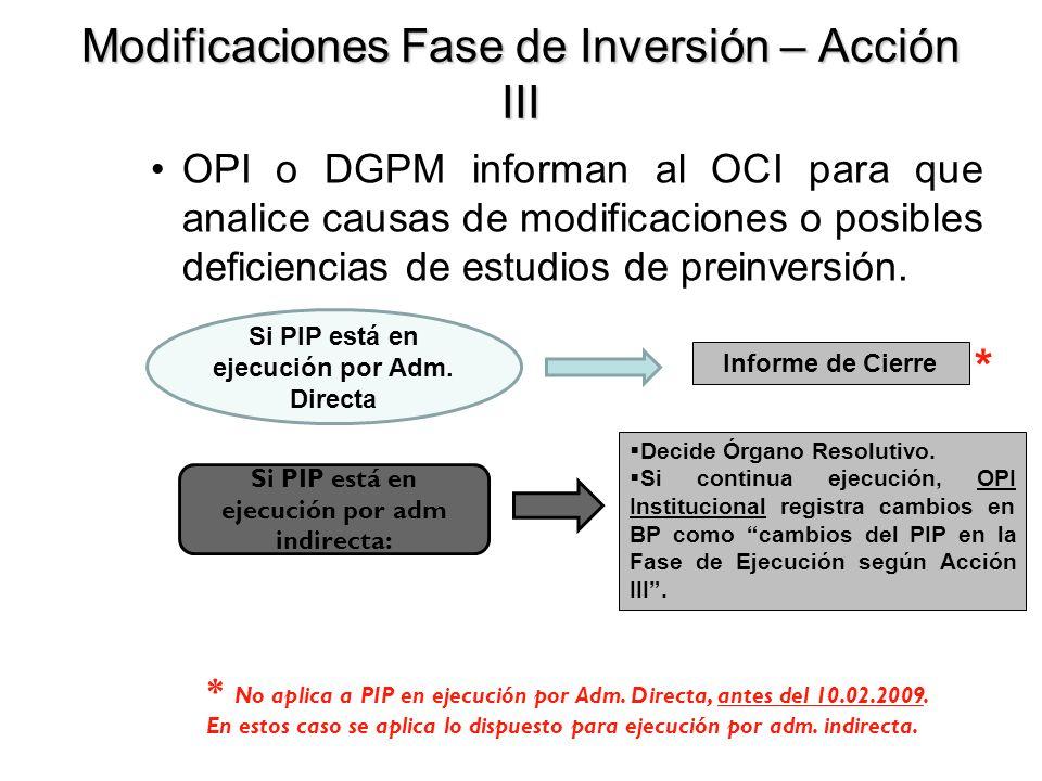 Modificaciones Fase de Inversión – Acción III OPI o DGPM informan al OCI para que analice causas de modificaciones o posibles deficiencias de estudios de preinversión.