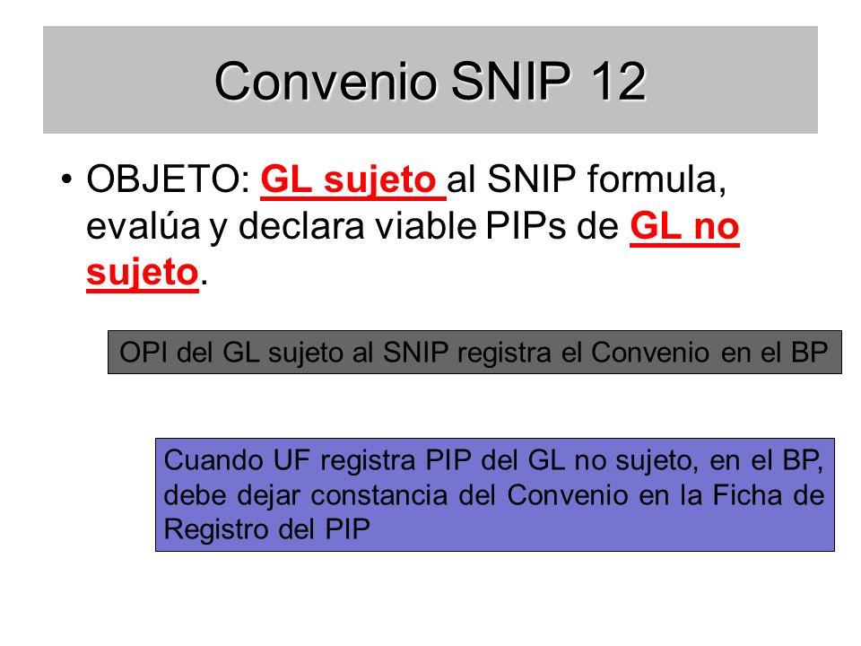 Convenio SNIP 12 OBJETO: GL sujeto al SNIP formula, evalúa y declara viable PIPs de GL no sujeto.