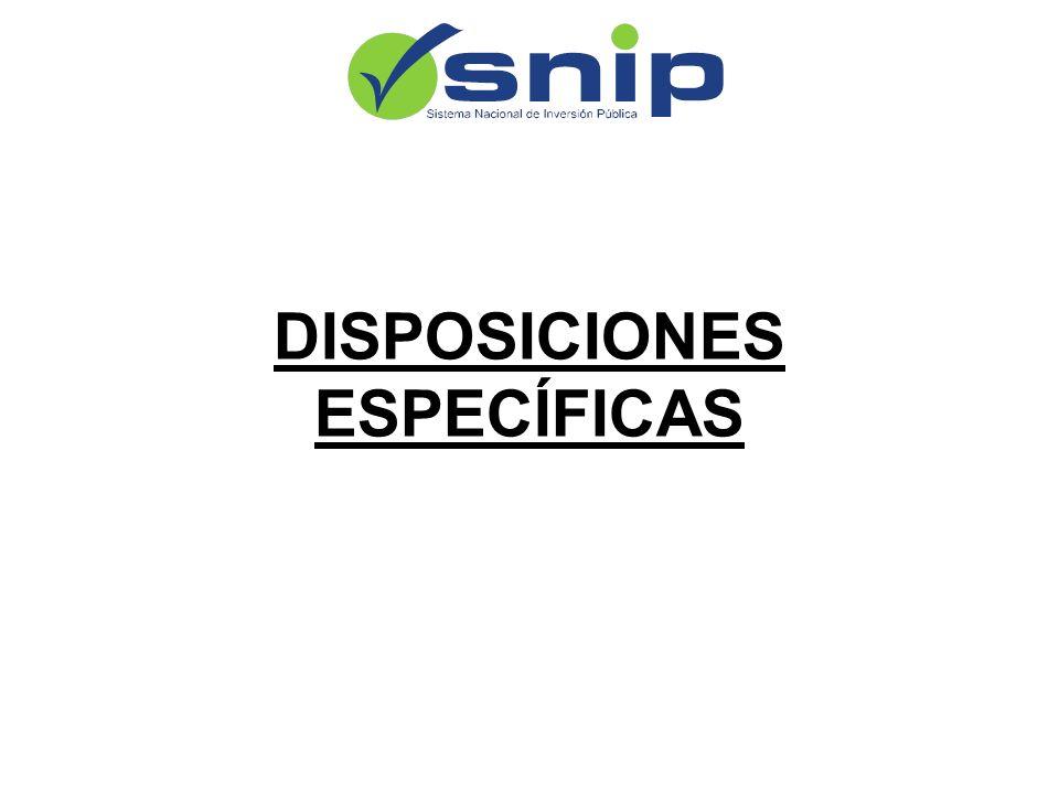 DISPOSICIONES ESPECÍFICAS