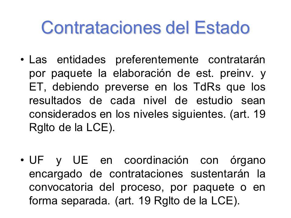 Contrataciones del Estado Las entidades preferentemente contratarán por paquete la elaboración de est.