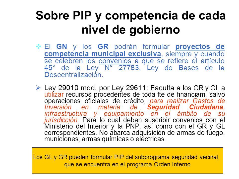 El GN y los GR podrán formular proyectos de competencia municipal exclusiva, siempre y cuando se celebren los convenios a que se refiere el artículo 45° de la Ley N° 27783, Ley de Bases de la Descentralización.