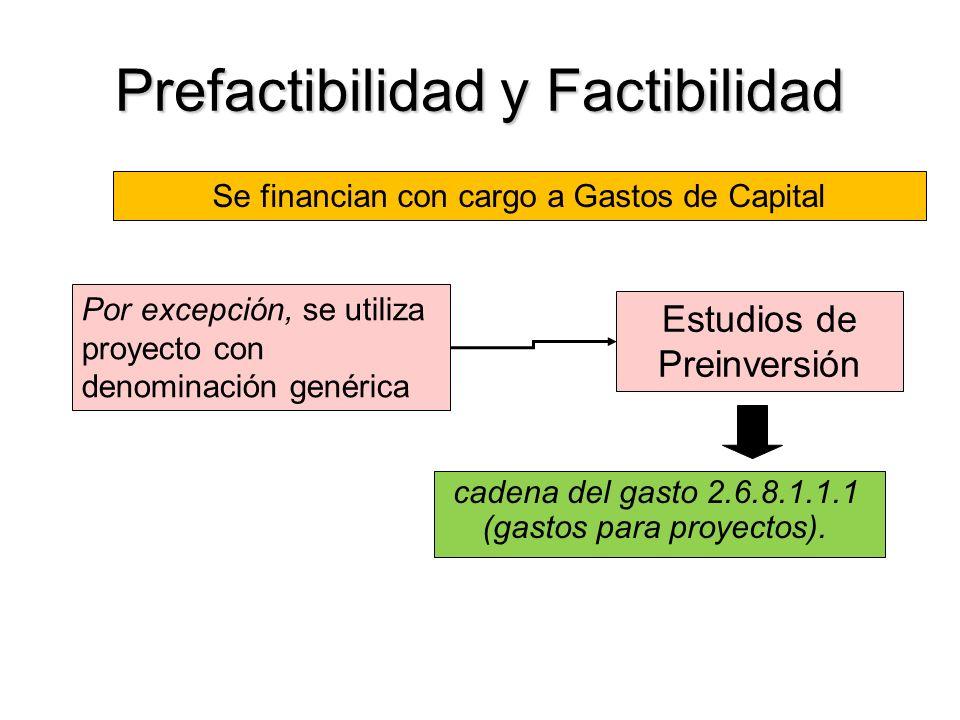 Prefactibilidad y Factibilidad cadena del gasto 2.6.8.1.1.1 (gastos para proyectos).