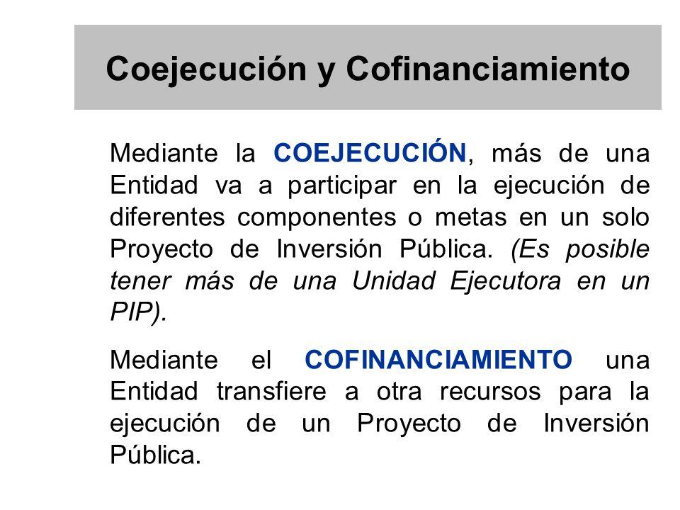 Mediante la COEJECUCIÓN, más de una Entidad va a participar en la ejecución de diferentes componentes o metas en un solo Proyecto de Inversión Pública.