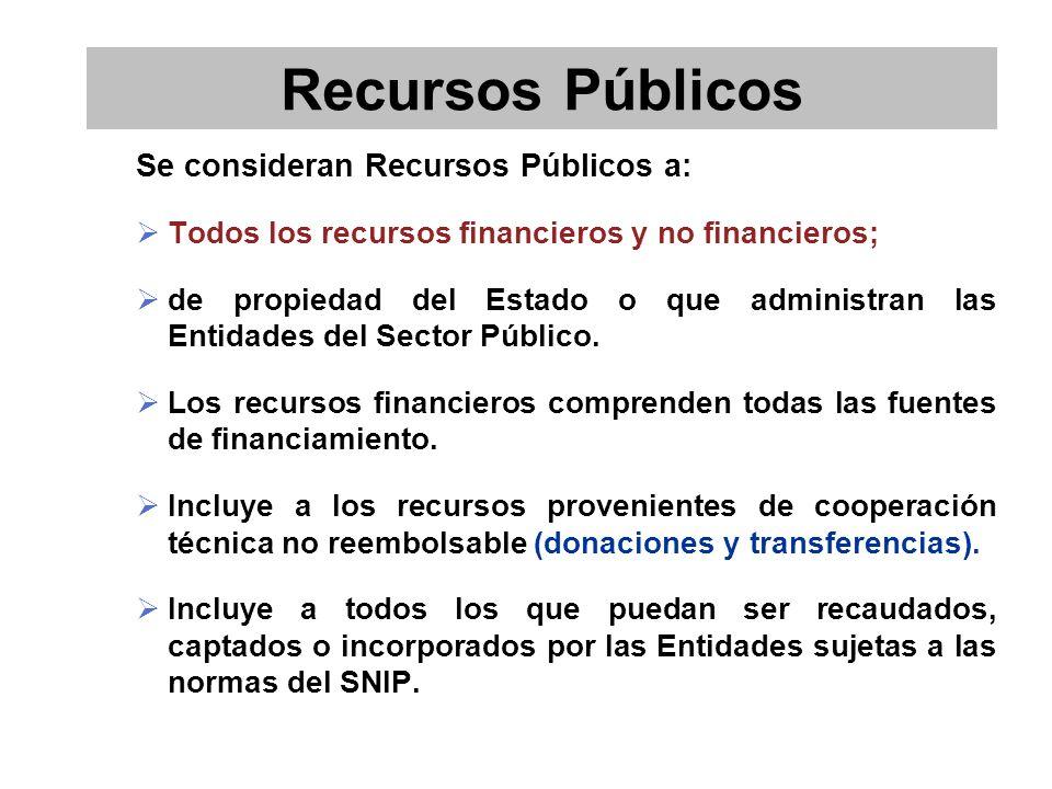 Se consideran Recursos Públicos a: Todos los recursos financieros y no financieros; de propiedad del Estado o que administran las Entidades del Sector Público.