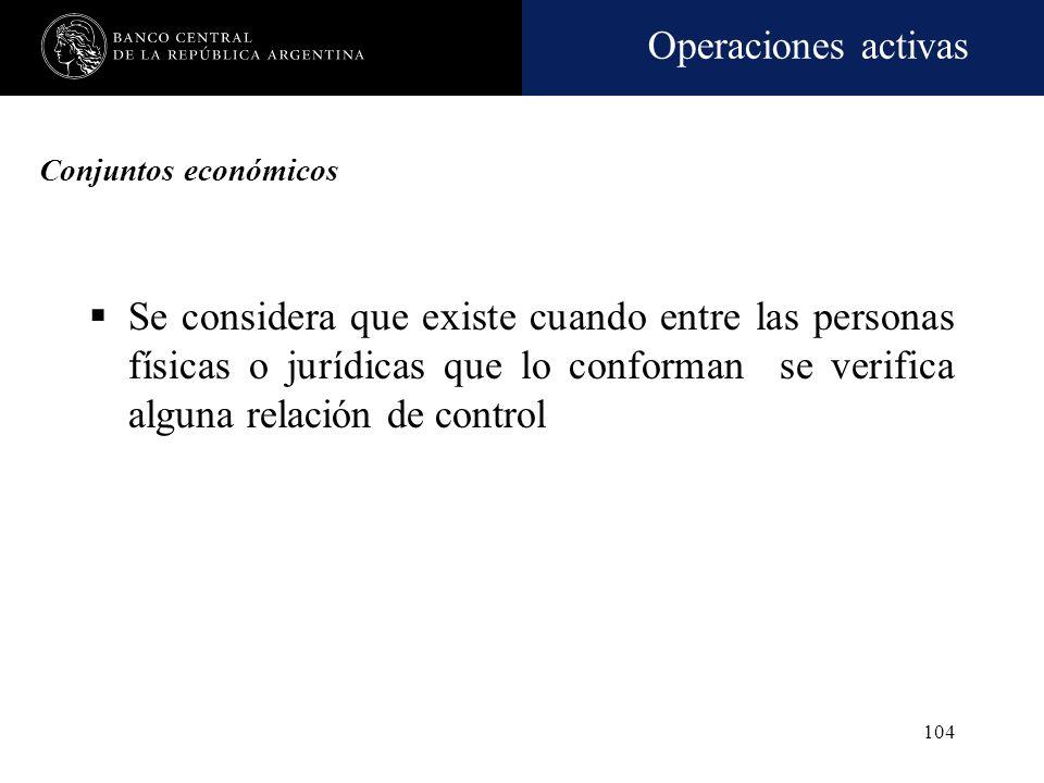 Operaciones activas 103 Vinculación. Otros aspectos SEFyC puede aplicar CAMEL 5 en caso de falsedad (total o parcial) de las informaciones exigibles s