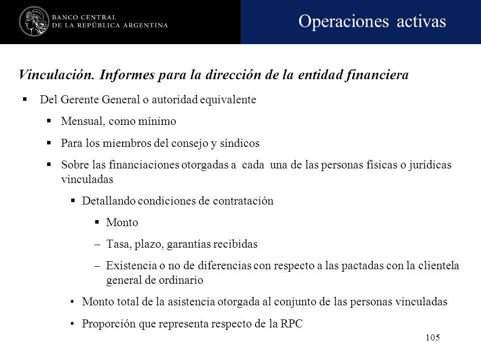 Operaciones activas 104 Conjuntos económicos Se considera que existe cuando entre las personas físicas o jurídicas que lo conforman se verifica alguna