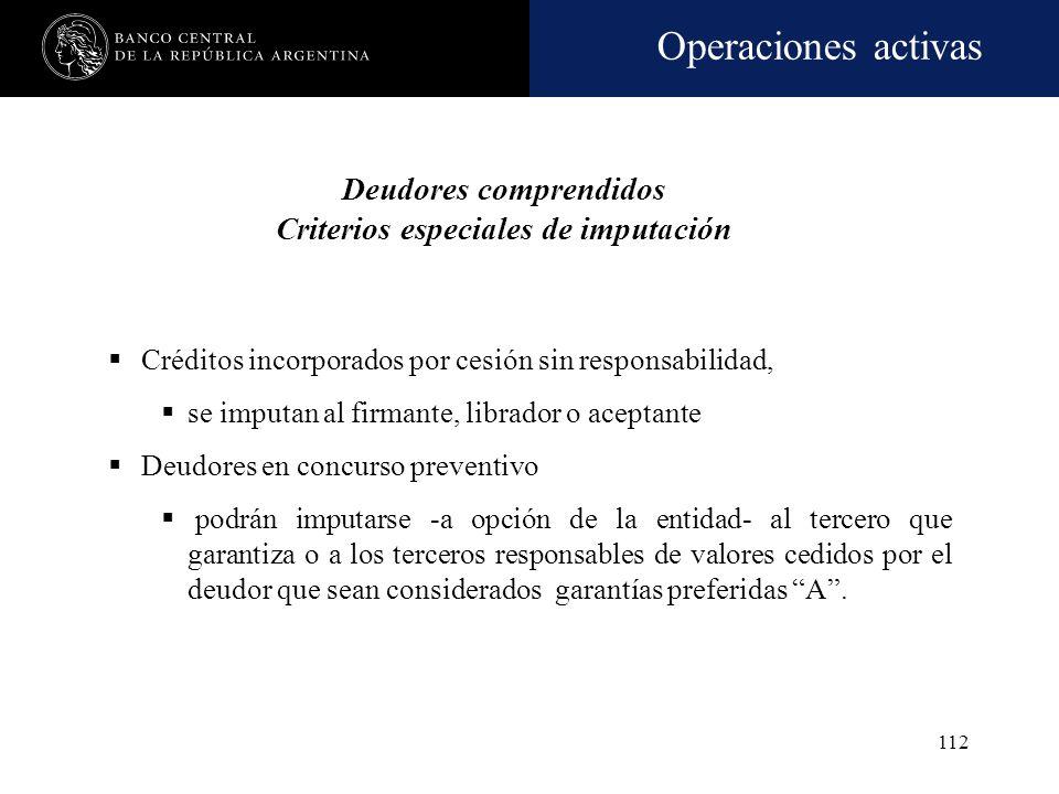 Operaciones activas 111 Deudores comprendidos Criterio general Clientes de la entidad por las financiaciones comprendidas Residentes en el país del se