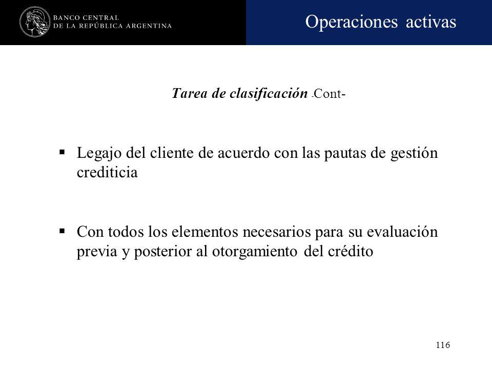 Operaciones activas 115 Manual de procedimientos de clasificación y previsión: Opción de agrupar en consumo, financiaciones comerciales de hasta $250.
