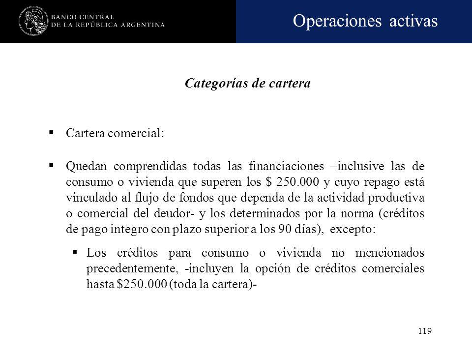 Operaciones activas 118 Evaluación de la capacidad de repago Flujo de fondos Liquidación de activos no imprescindibles para la operatoria de la empres