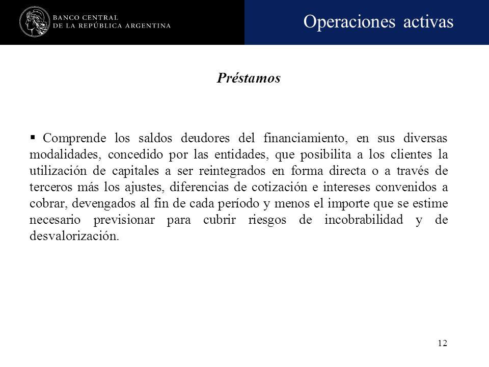Operaciones activas 11 Títulos públicos Comprende las tenencias de títulos de crédito de propiedad de la entidad (incluidos los recibidos en depósito