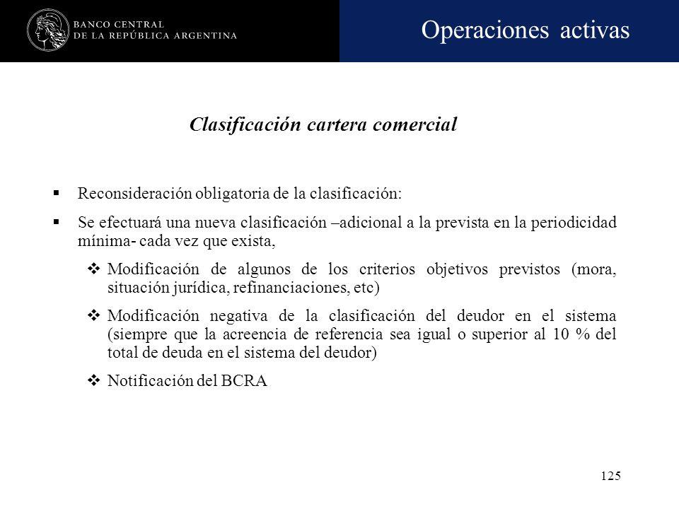 Operaciones activas 124 Periodicidad mínima de clasificación: Trimestral (calendario): financiaciones del 5% o más de RPC mes anterior Semestral (cale