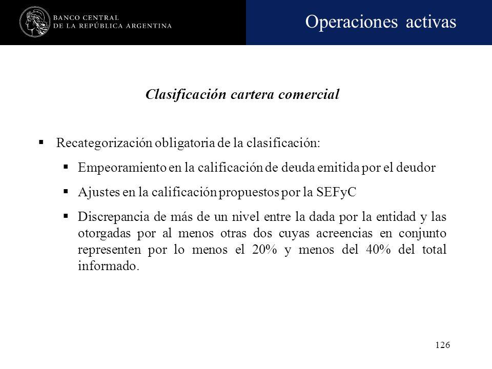 Operaciones activas 125 Reconsideración obligatoria de la clasificación: Se efectuará una nueva clasificación –adicional a la prevista en la periodici