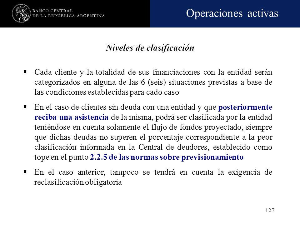 Operaciones activas 126 Recategorización obligatoria de la clasificación: Empeoramiento en la calificación de deuda emitida por el deudor Ajustes en l