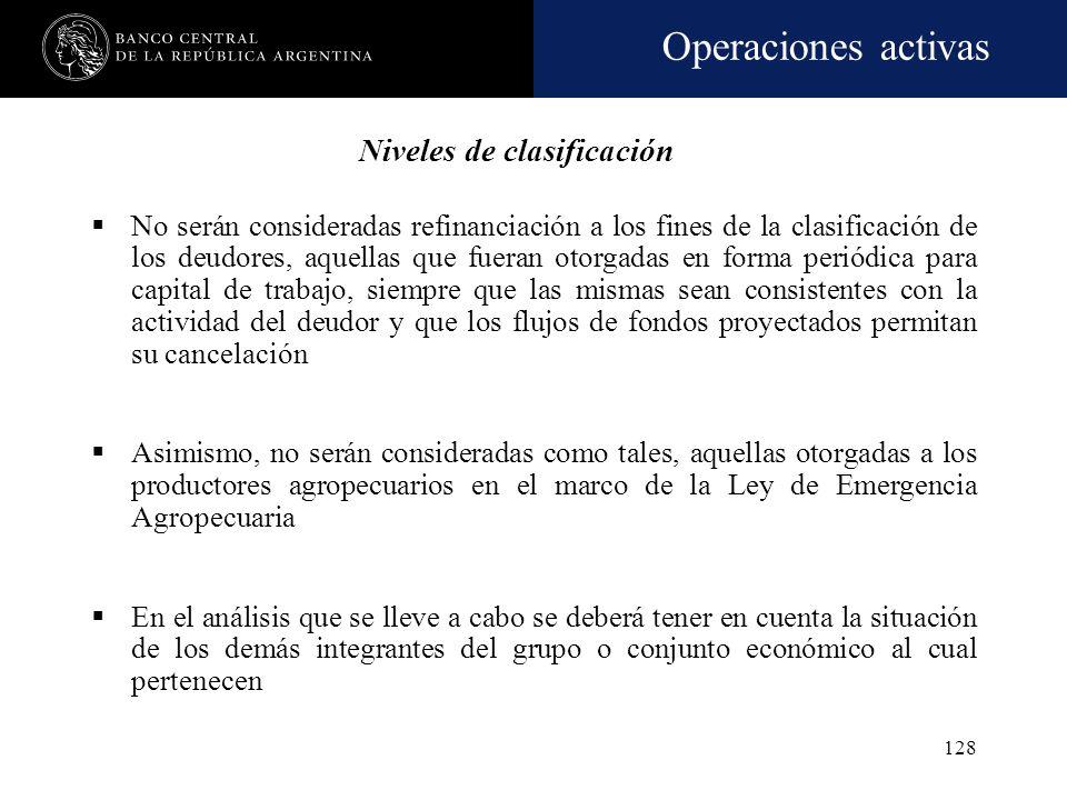 Operaciones activas 127 Niveles de clasificación Cada cliente y la totalidad de sus financiaciones con la entidad serán categorizados en alguna de las