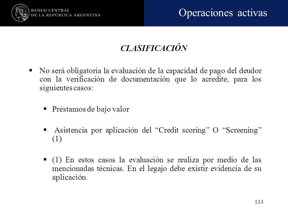 Operaciones activas 132 CARTERA DE CONSUMO