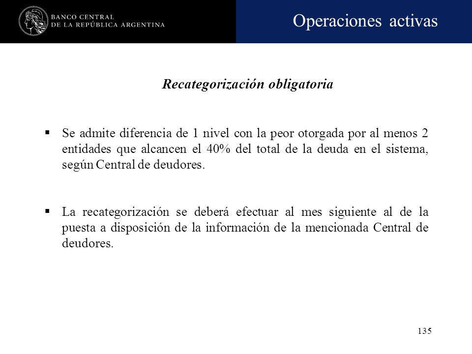 Operaciones activas 134 CLASIFICACIÓN Criterio: Pauta objetiva = grado de cumplimiento en término de sus obligaciones, situación jurídica y las inform