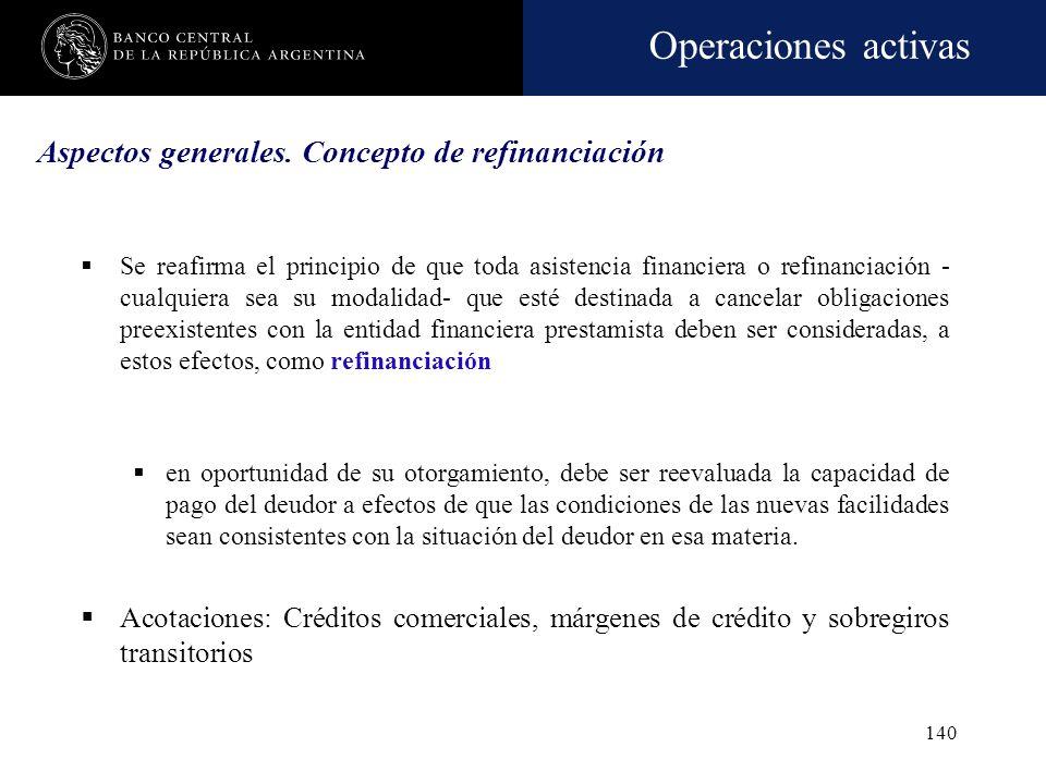 Operaciones activas 139 Mora CategoríaDeuda activaDeuda refinanciada 1. En situación normal< 31 Aplica el procedimiento para la cartera refinanciada 2
